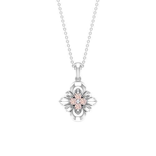 Rosec Jewels 10 quilates oro blanco redonda Laboratorio de morganita creado