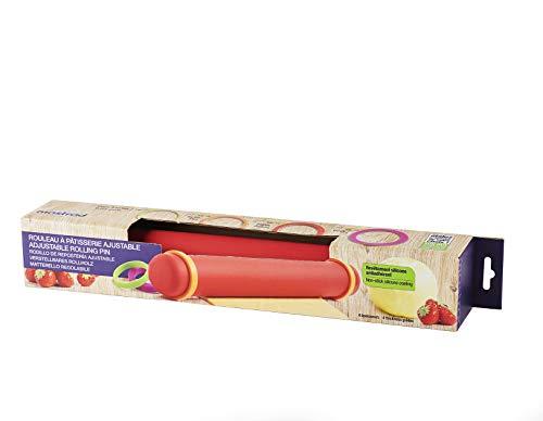 MASTRAD - Rouleau à Pâtisserie - Avec Anneaux Ajustables - 2 Mm Pour Les Pâtes Fraiches, 4 Mm Tartes, 6 Mm Sablés, 8 Mm Pizzas - En Silicone - Anti-Adhérent - Sans BPA - 41 Cm