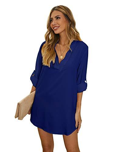 ZANZEA Damen V-Ausschnitt Chiffon Langarm Slim Oversize T-Shirt Bluse Lose Tops Blau EU 38/US 6