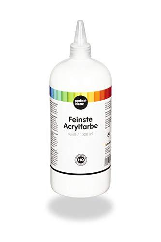 perfect ideaz 1000 ml Acryl-Farbe weiß, acrylic paint hoch-deckend, Kreativ-Mal-Farbe in weiss, ideal zum Mischen von Farben, Zubehör zum Malen & Zeichnen für Acryl-Malerei