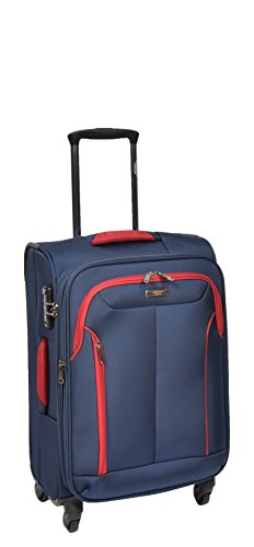 Cabin Size Hand Luggage 4 Wheel Lightweight Expandable Soft Suitcase Travel Bag AA716 Blue