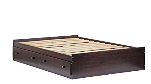 """100% Solid Wood Kansas Full Mate's Platform Storage Bed by Palace Imports, Bed Only, Java Color, 15""""H x 57""""W x 76""""L, 13 Slats, 2 Drawers Included. Optional Bookcase Headboard, Rail Guard Sold Separately. Requires Assembly"""