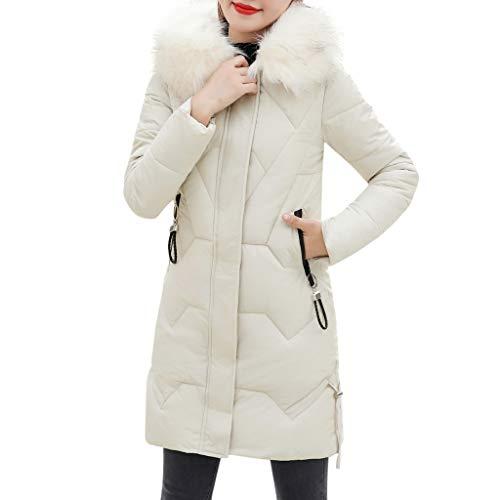 Winter Klassisch Daunenjacke Damen Warme Mantel Frauen Lange Dicke Pelzkragen Baumwolle Parka Slim Jacke FRAUIT Zipper Einfarbig Warm Jumper Top Outwear Bluse (XL, Weiß)