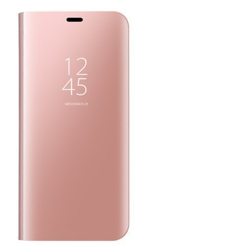 Dedux Funda Xiaomi Redmi Note 9 - Modelo Inteligente Fecha/Hora Ver Espejo Brillante tirón del Caso Duro con para el Xiaomi Redmi Note 9, Oro Rosa
