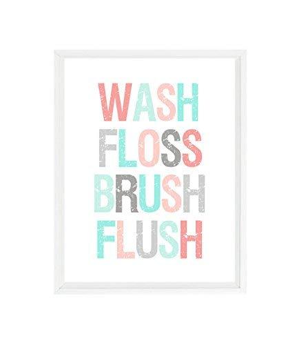 Amazon Com Bathroom Wall Art Wash Floss Brush Flush Bathroom Decor Aqua Coral Gray Bathroom Sign Typograph Kids Bathroom Home Decor Gift Handmade