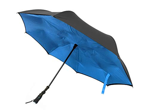 BetterBrella 40-inch Extra Large Umbrella Windproof, Double Layer, Compact and Reverse Folding for Car, Travel and Outdoor Use with Built-in Flashlight (Blue)
