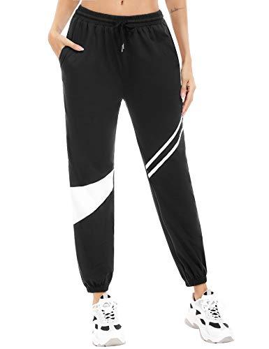 Aibrou Pantalones Deportivos Mujer, Pantalones Chándal Mujer Contraste Cintura Elástica Atar Pies Pantalones para Correr con Bolsillos, Cómodo y Suelto para Fitness Jogging Correr Gimnasio