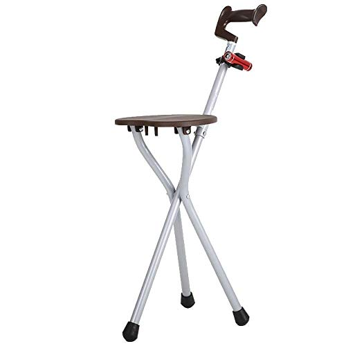 YWYW Muleta Trípode Plegable para sillas de Paseo (bastón/Taburete) para Personas Mayores - Aleación de Aluminio Ajustable con luz muletas para Personas Mayores