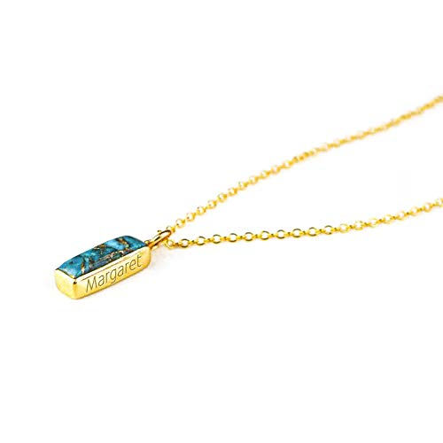 Birthstone December Jewelry Craft Supplies Polished Gold Plated  2 Pcs DG069-PG-TQ Turquoise Gemstone Pendant