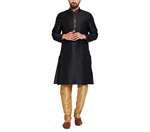 Royal SOJANYA Men's Dupion Silk Kurta with Designer Front Large Black