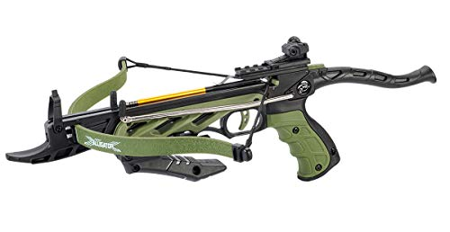 Isaazon 80lbs Green 225+ FPS Self Cocking Pistol Crossbow + Arrows Hunting Grip Bow New