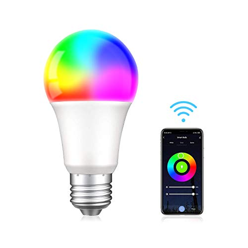 A19 E26 7W Smart Light Bulb,WiFi App Control Compatible with Alexa and Google Home Assistant,RGB Color Changing Led Bulb for Living Room,Multi-Color Decorative Smart Home Lighting,No Hub Required