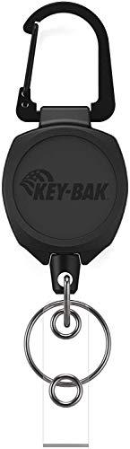 KEY-BAK #0KB2 サイドキック カラビナ付キーリール 60cmケプラーコード (ブラック IDストラップ)
