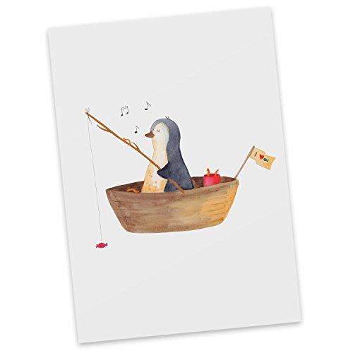 Mr. & Mrs. Panda Einladung, Ansichtskarte, Postkarte Pinguin Angelboot - Farbe Weiß