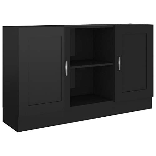 vidaXL Sideboard 2 Fächer 2 Türen Kommode Anrichte Beistellschrank Mehrzweckschrank Standschrank Schrank Hochglanz-Schwarz 120x30,5x70cm Spanplatte