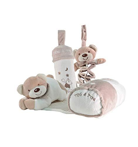 Tris & Ton Pack regalo recién nacido Osito siesta musical, peluche acordeón musical y portabiberon cesta original niño niña (trisyton) (beige)