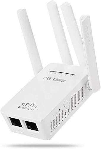 VRK Amplificador WiFi,2.4GHz 5GHz Extensor WiFi Dual Banda 4 Antena 300Mbps,Amplificador Señal WiFi para Modo RP Ap y Función WPS de Puerto LAN, Compatible con Todas Las Cajas de Internet