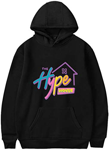 EMILYLE Damen Kapuzenpullover mit The Hype House Charli D'Amelio Gruppendruck Fashion Hoodie (M, Farbig-Black)