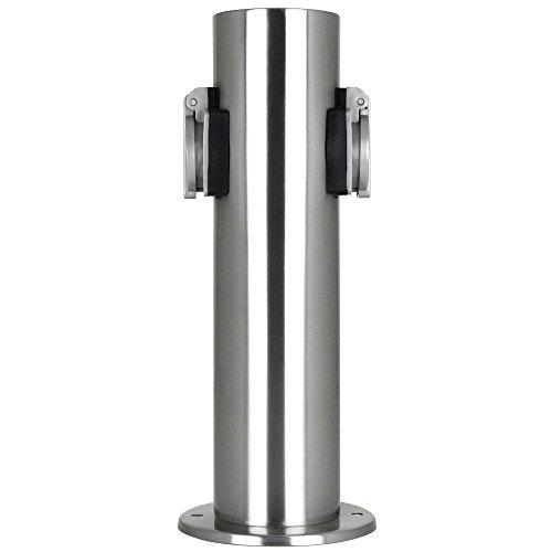 Grafner Edelstahl Design Gartensteckdose mit 2 Steckdosen, IP44, rund, Klarlack-Beschichtung, Energiesäule Mehrfachsteckdose Outdoor Metall Außensteckdose 2-fach