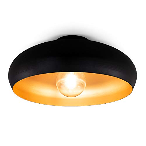B.K.Licht Plafoniera vintage industriale, diametro 39.5cm, adatta per 1 lampadina E27 non inclusa, Lampada da soffitto elegante per salotto, Lampadario in metallo nero esterno e oro interno, IP20