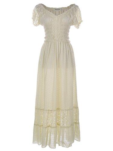 Anna-Kaci Antique Beige Small Size Smocked Waist Summer Maxi Dress Cap Sleeve Boho Gypsy, Beige, Small