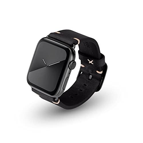 JT Berlin Alex Vintage - Cinturino in pelle morbida per Apple Watch 42 mm/44 mm [Watch SE, Series 6 / 5 / 4 / 3 / 2 / 1, chiusura in acciaio inossidabile], colore: Nero