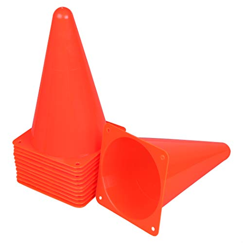 Cartman 9 inch Plastic Sports Cones, 12 Pack Thick Soccer Training Field Marker Cones for Outdoor Activity & Festive Events