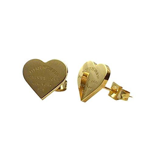 Butterme 18K Gold überzogen Damen Herz geformt Für Immer Liebe Ohrstecker Für Frauen Mädchen