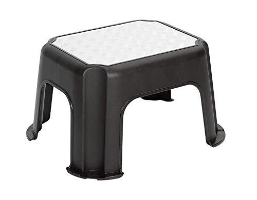 Rotho Paso Tritthocker bis 150 kg belastbar in Riffelblech-Optik, Kunststoff (PP) BPA-frei, schwarz, 43,1 x 35,8 x 23,8 cm