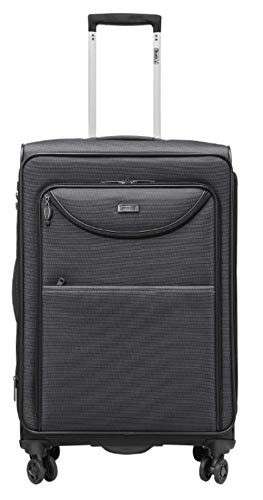 Stratic Pure Series Trolley Suitcase 78 x 48 x 32 cm 4 Wheels 109/116 Litres Expansion Pleat Black
