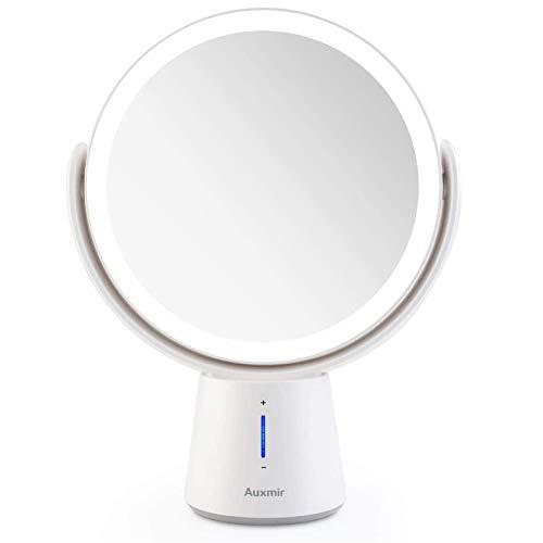 Auxmir Kosmetikspiegel LED Beleuchtet mit 1X/10X Vergrößerung und 5 Dimmbaren Helligkeiten, Doppelseitiger Makeup Schminkspiegel, Wiederaufladbar, 360° Schwenkbar für Zuhause und Unterwegs