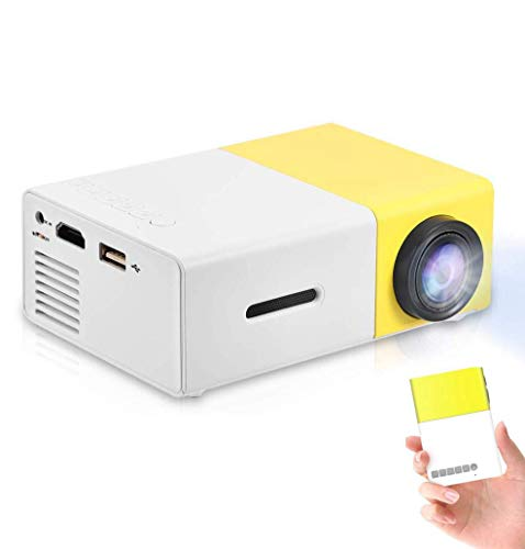 Mini Beamer Portable 320 * 240 Fysieke resolutie LED Beamer voor Home Theater Projector Ondersteuning 1080P HDMI, AV, USB, Laptop PC Telefoon Binnen / Buiten Pocket Projector Gift (Geel)