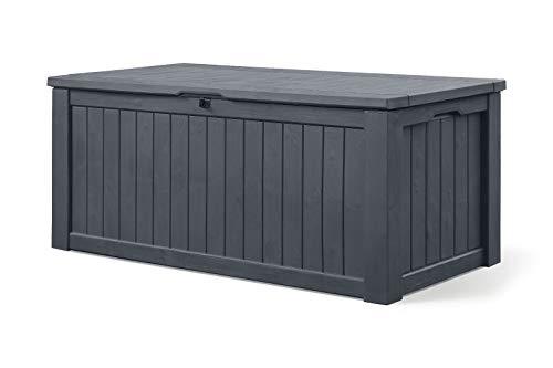 Koll Living Auflagenbox/Kissenbox 570 Liter l 100{9a5ce278fc72179a45037b6b79974cf90fa9e2a1ce34d605bf11271b5b66f0a2} Wasserdicht l mit Belüftung dadurch kein übler Geruch/Schimmel l Moderne Holzoptik l Deckel belastbar bis 250 KG (2 Personen) (GRAU)