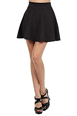 JDJ CO. Womens High Waist Basic Solid Versatile Stretchy Flared Casual Mini Skater Skirt