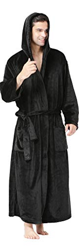 Hooded Robes For Men Guys Robe Mens Robe Plush,Black Robe With Hood Men Winter Robes Fleece Bath Robes Big And Tall Black
