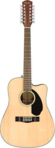 Fender CD-60SCE-12 Dreadnought Acoustic-Electric Guitar, 12 String - Natural Bundle with Hard Case, Cable, Tuner, Strap, Strings, Picks, Austin Bazaar Instructional DVD, and Polishing Cloth