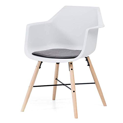 LLSM Ergonomic desk chair Modern Dining Chair Lounge Plastic Side Chair Desk Chair Office Computer Chair Guest Chair for Kitchen Bedroom Living Room (Color : White+chushion B)