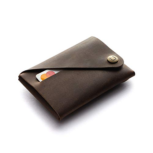 Minimalist wallet/cardholder | Wood Brown, Italian Crazy Horse leather card...