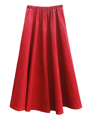 Soojun Women's Solid Cotton Linen Retro Vintage A-line Long Flowy Skirts, Red, Large Petite