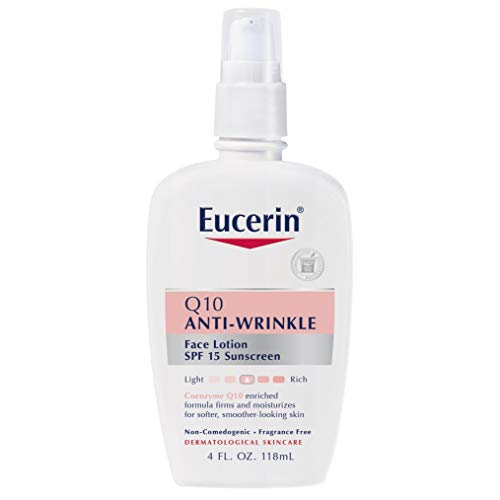 3186ZYgywYL - Eucerin Q10 Anti-Wrinkle Face Lotion with SPF 15 - Fragrance-Free, Moisturizes for Softer Smoother Skin - 4 fl. oz Bottle