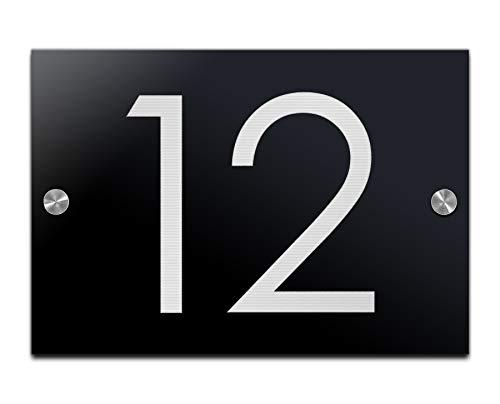 Huisnummer, deurbordje met gravure van hoogglans-acrylglas, familie-huisje, naamplaatje, deurbordje voor de voordeur, 23 x 16 cm
