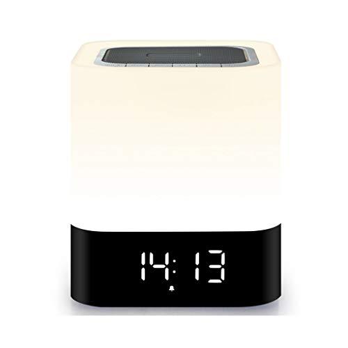 Wekker met USB Charger Bluetooth Speaker Night Light Dimbare Touch Control Thuis Slaapkamer Nachtlampjes Student Gift Stil Ontwerp (Size : 9.7 * 9.7 * 11.4cm)