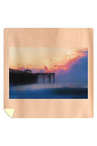 Lantern Press Myrtle Beach, South Carolina - Sunrise at Springmaid Pier - Photography A-95390 95390 (88x88 Queen Microfiber Duvet Cover)