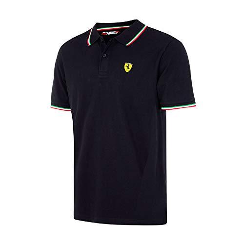 Scuderia Ferrari Polo Tricolore Uomo Nero Prodotto Ufficiale - Colore - Nero, Misure - L