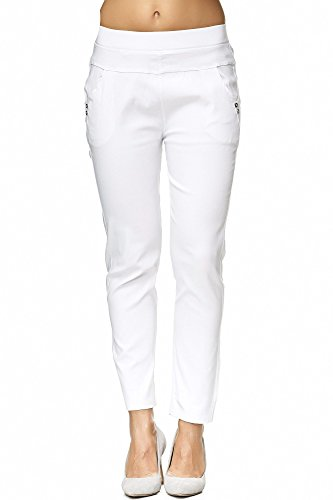 JillyMode hochwertige Damen High Waist Stretch Hose I Weiß I Weiß bis Gr.50 (H104-A1310-White-3XL4XL)