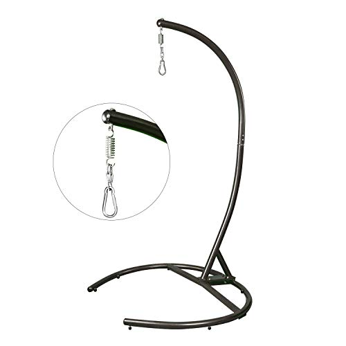 Greenstell Hammock Swing Stand, Stainless Steel Hanging C-Stand Got EN 581 Quality Inspection Report Issued by SGS, with Steel Buckle and Spring Hook for Indoor, Outdoor, Patio, Yard Max Load 330 LB