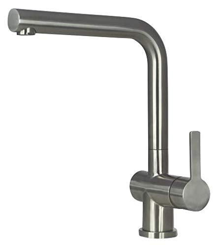 Mizzo Arlori Acero - Grifo de fregadero de cocina (180° orientable, 450 mm de longitud y tuerca 3/8' , ACS certificado)