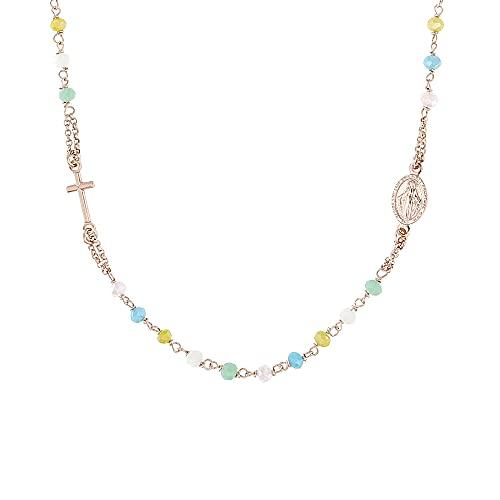 collana donna girocollo colorata Linea Italia Gioielli - Collana Donna a Rosario in Argento 925 con Croce