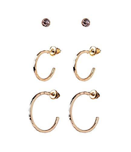 SIX Damen Ohrringe, 3er Set mit zwei Creolen und kleinen Steckern mit Strasssteinen, Creolen mit Prägungen in gold, goldene Stecker (784-161)