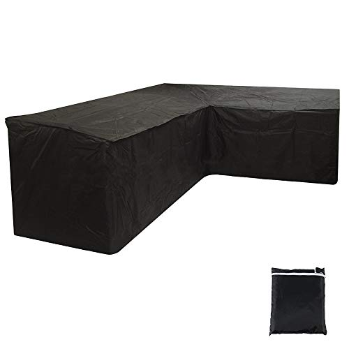 JTWEB L Shaped Cover Patio Sofa Furniture Couch Cover 210D Waterproof Dustproof Polyester Garden Corner Sofa Couch Protector Cover with Storage Bag Black (215x215x87CM)